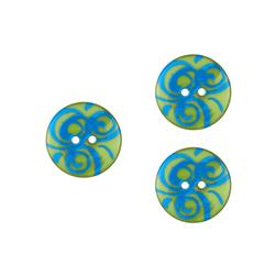 Dull Novelty Button 3/4'' Swirl Lime