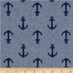 Kaufman Nautique Chambray Anchors Indigo