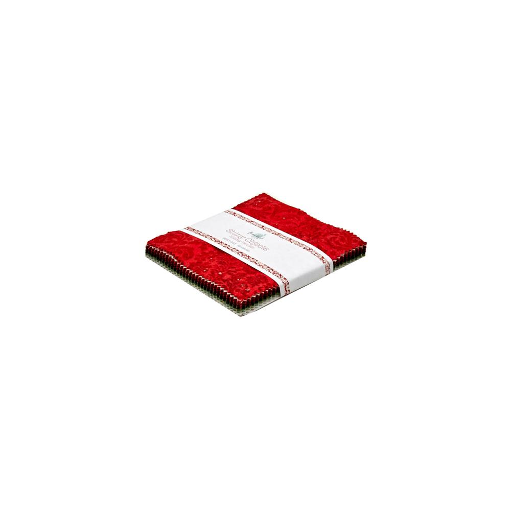 """Shiny Objects Holiday Twinkle 5"""" Squares Charm Pack"""
