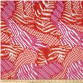 Crepe de Chine Diagonal Plaid Pink/Orange/White