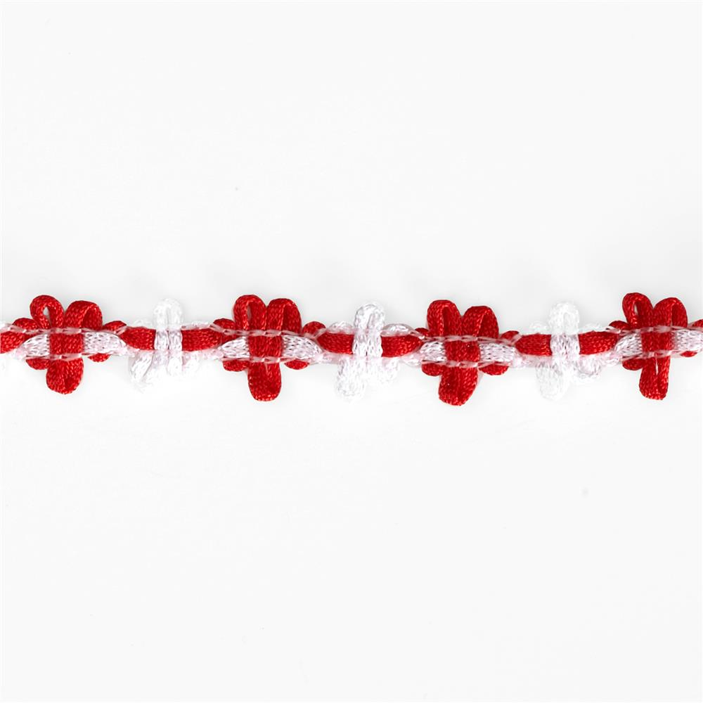 """5/8"""" Amy Woven Flower Trim Red"""