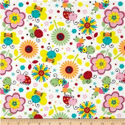Flannel Bugs & Flowers White