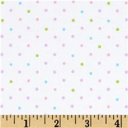 Stretch Poplin Dots White/Lilac/Pink/Lime