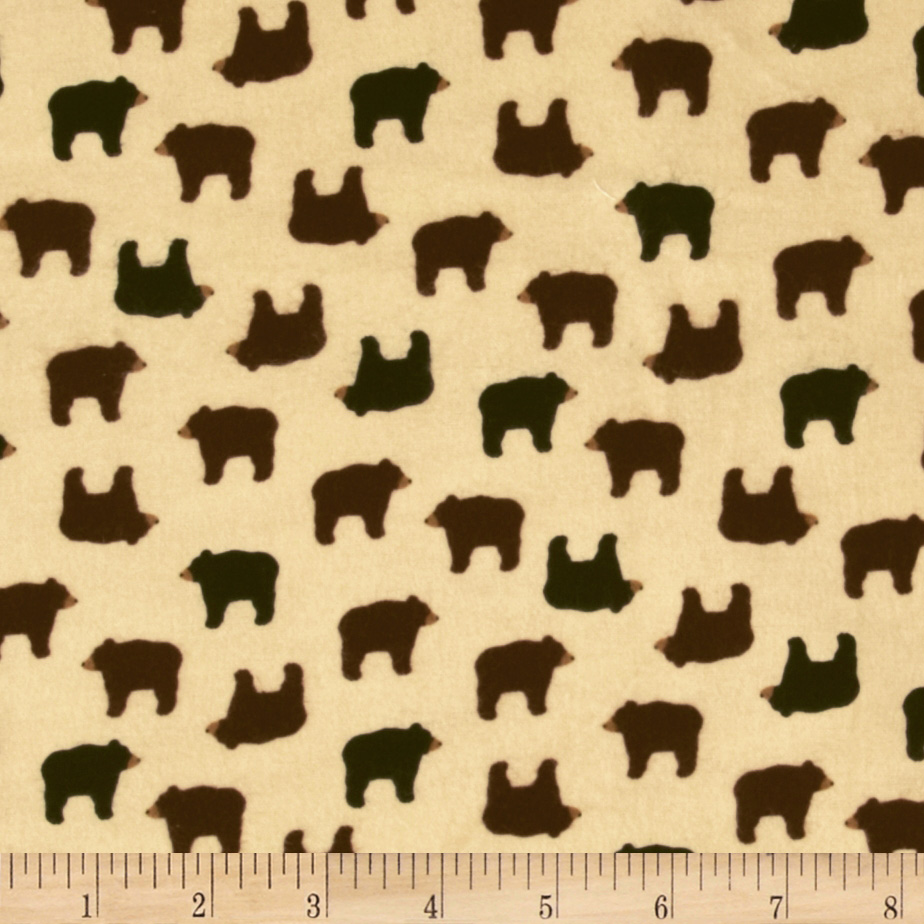 Timeless Treasures Cabin Flannel Bears Cream Fabric