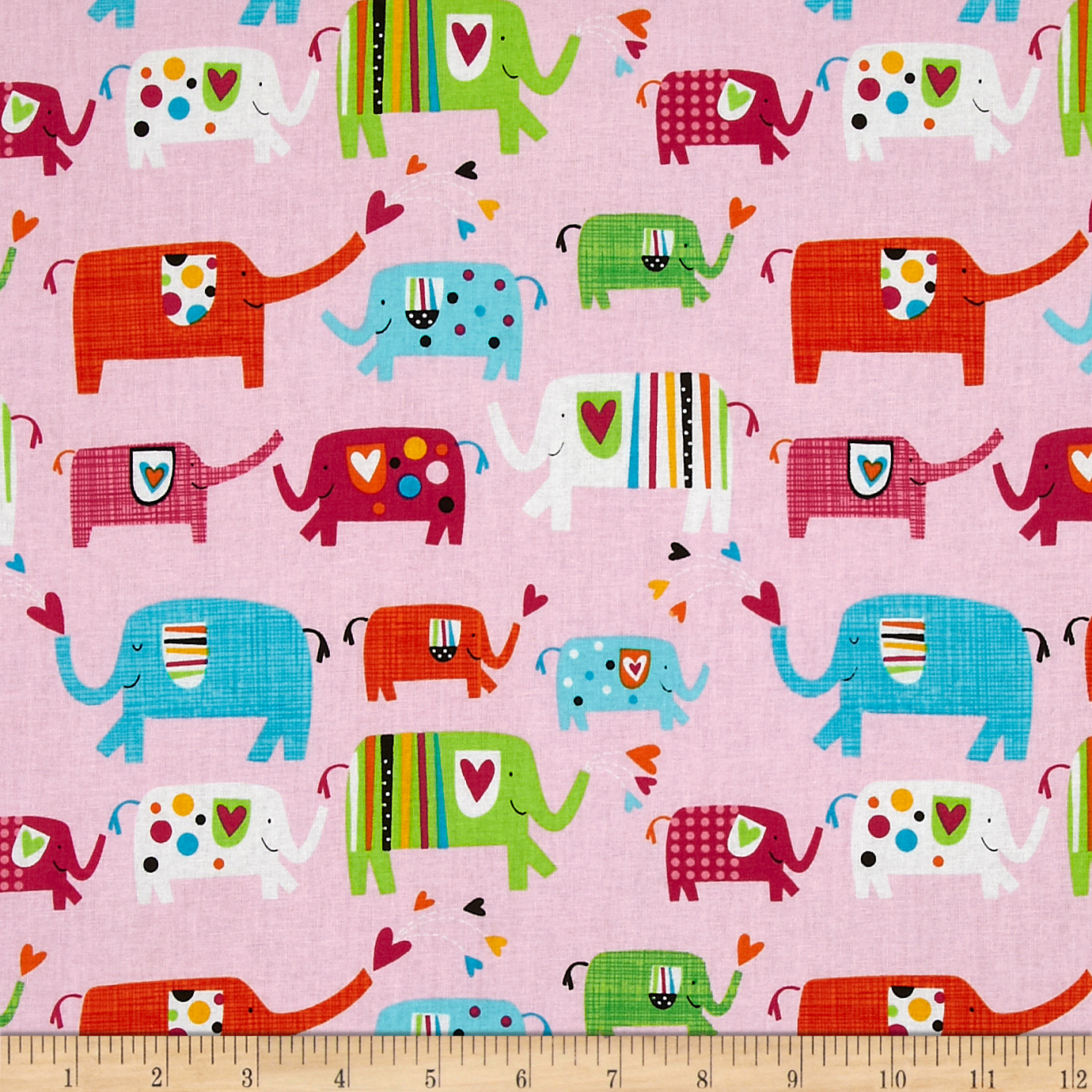Elephants Pink Fabric