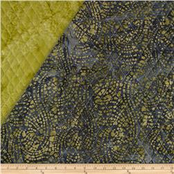 Indian Batik Double Sided Quilted Abstract Stripe Green/Grey