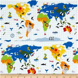 Kokka World Map Animals White