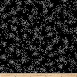 Kanvas Sew Sew Stiched Floral Black/White