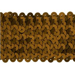 "1 3/4"" Metallic Stretch Sequin Trim Brown"