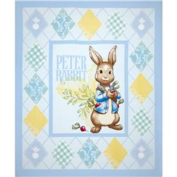 "Peter Rabbit Rabbits & Radishes 36"" Panel / Lt. Blue"