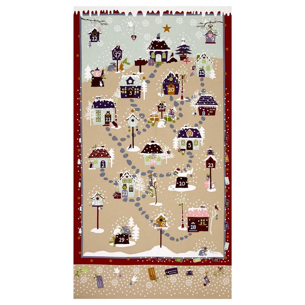 Snow Village 25'' Advent Calander Tan Fabric