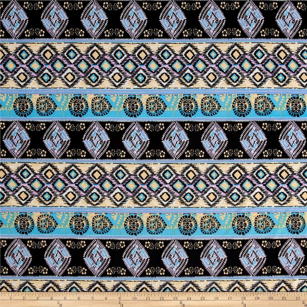 Ethnic Stretch ITY Jersey Knit Purple/Turquoise Fabric By The Yard