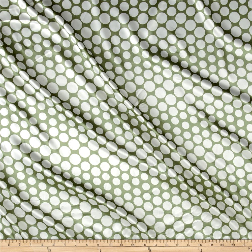Charmeuse Satin Polka Dot White Olive