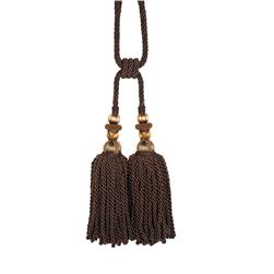 "Fabricut 31"" Bigelow Double Tassel Tieback Coffee"