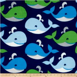 Fleece Prints Sail Away What's Up Whale Navy/Green