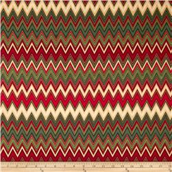 Winter's Grandeur Metallic Chevron Holiday Fabric
