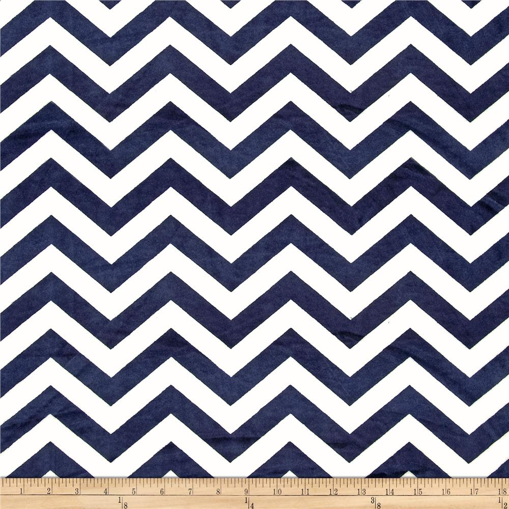 Minky Cuddle Small Chevron White/Navy