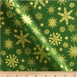 Season's Greeting Snowflakes Green