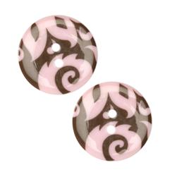 Fashion Button 1'' Damask Pink/Brown