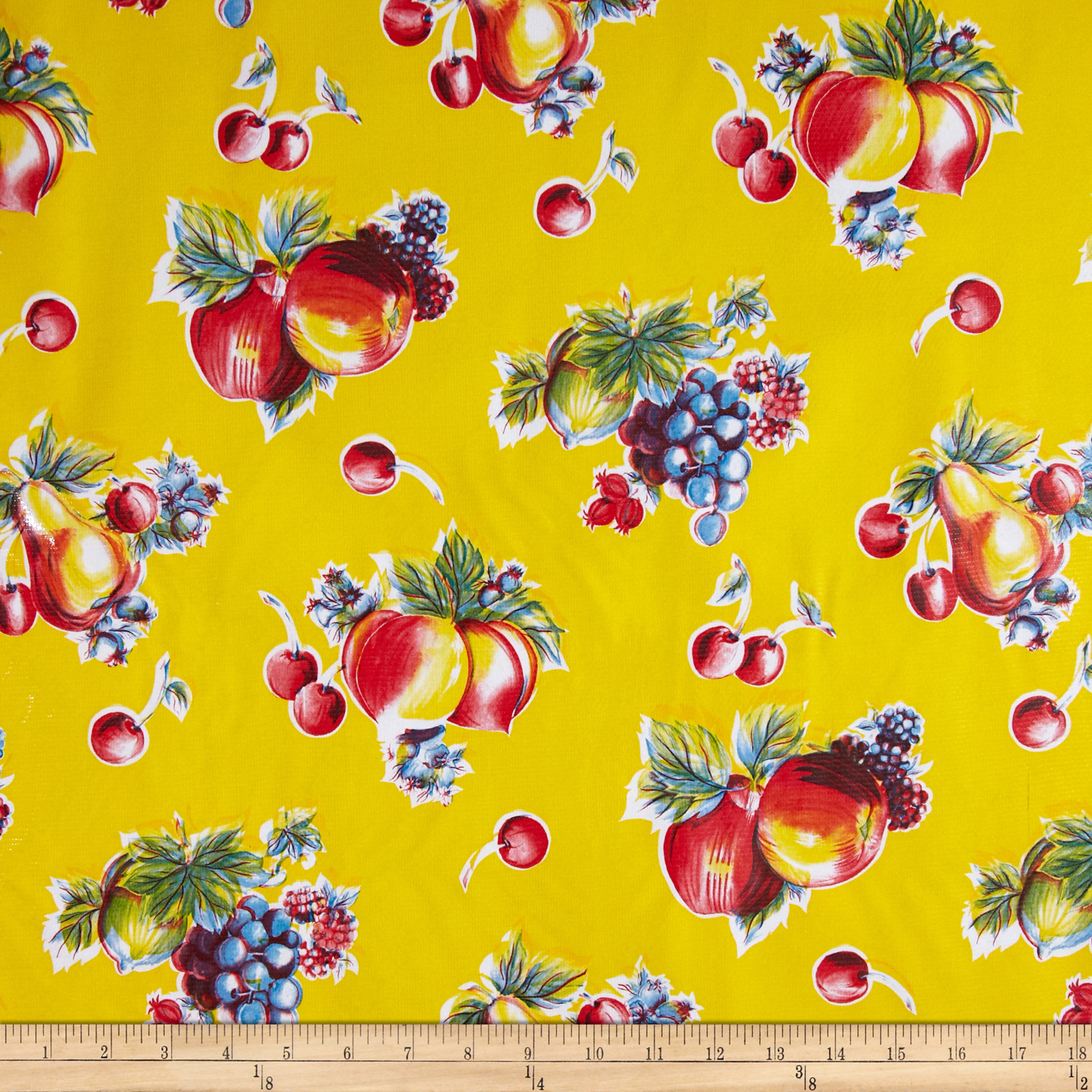 Oil Cloth Pears & Apples Yellow Fabric