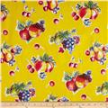 Oil Cloth Pears & Apples Yellow