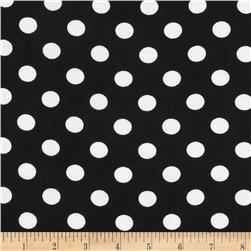 Rayon Challis Medium Dots Black/White