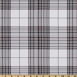 Yarn Dyed Polyester Suiting Plaid White/Black/Brown