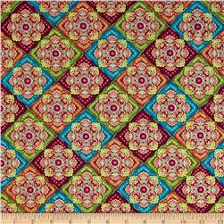 Timeless Treasures Bellagio Metallic Medallion Squares Multi