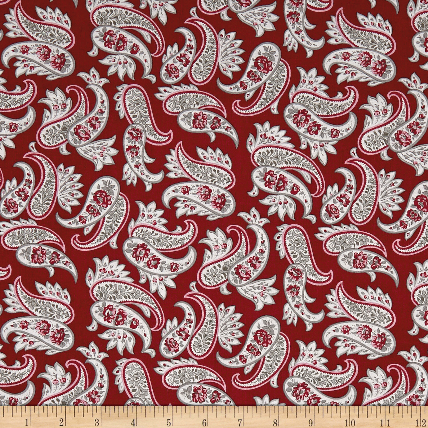 Penny Rose Rustic Romance Rustic Paisley Red Fabric
