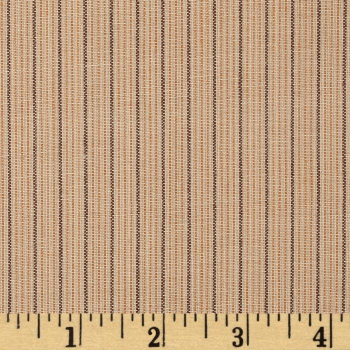 Homespun Yarn Dyed Vertical Stripe Shirting Tan/Orange