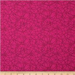 Breezy Blooms Scribble Dot Dark Pink Fabric