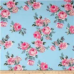 Double Brushed Printed Jersey Knit Roses Blue/Pink