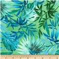 Timeless Treasures Oasis Tropical Leaves Green