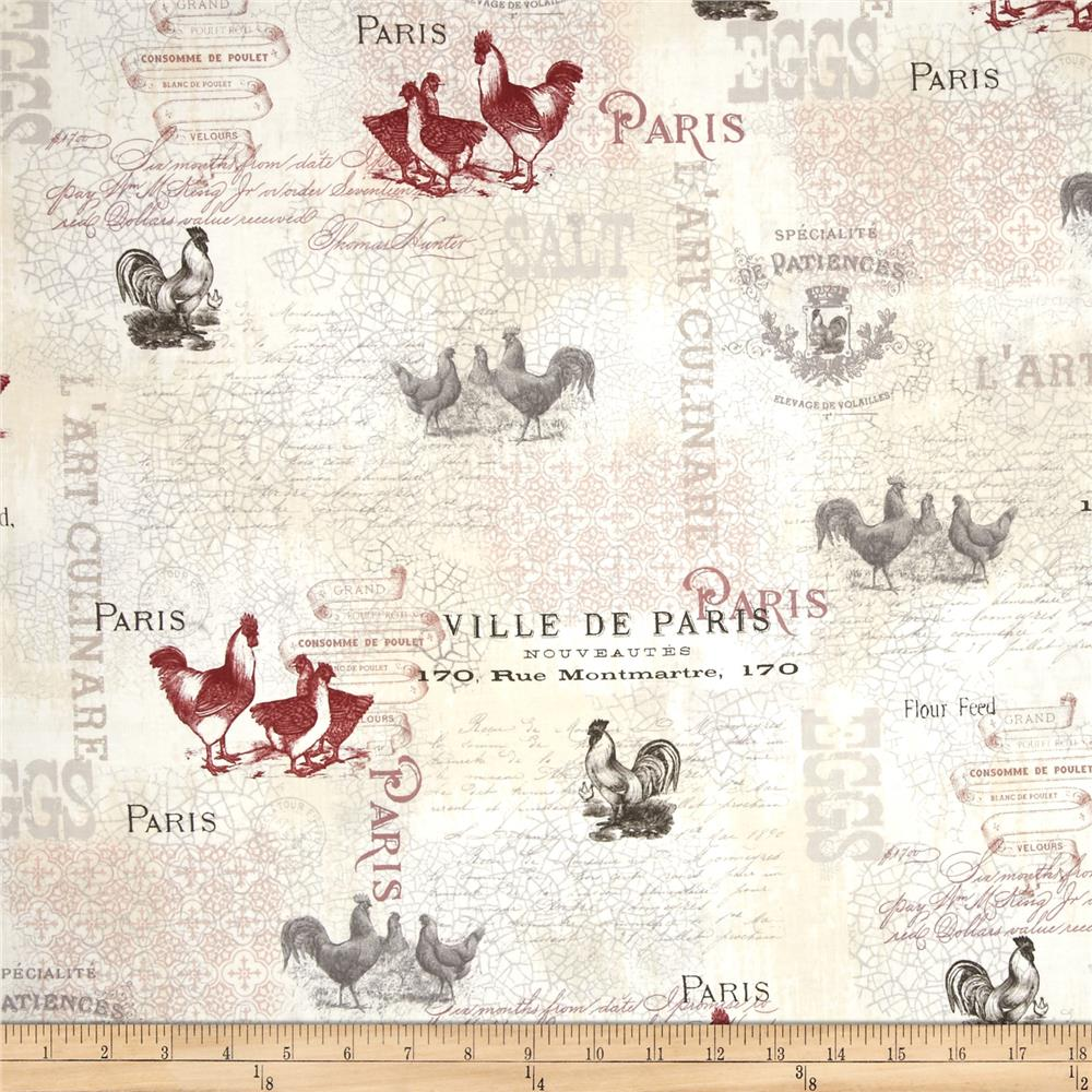 French Country Rooster Writing Multi Discount Designer Fabric Fabric Com