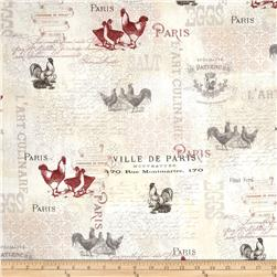 French Country Rooster Writing Multi
