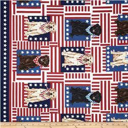 Timeless Treasures Patriotic Dogs Labradors on Flags USA