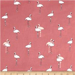 Telio Rayon Voile Flamingos on Vintage Pink