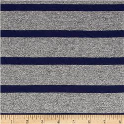 Designer Tissue Hatchi Knit Sparkle Stripe Navy/Grey Fabric