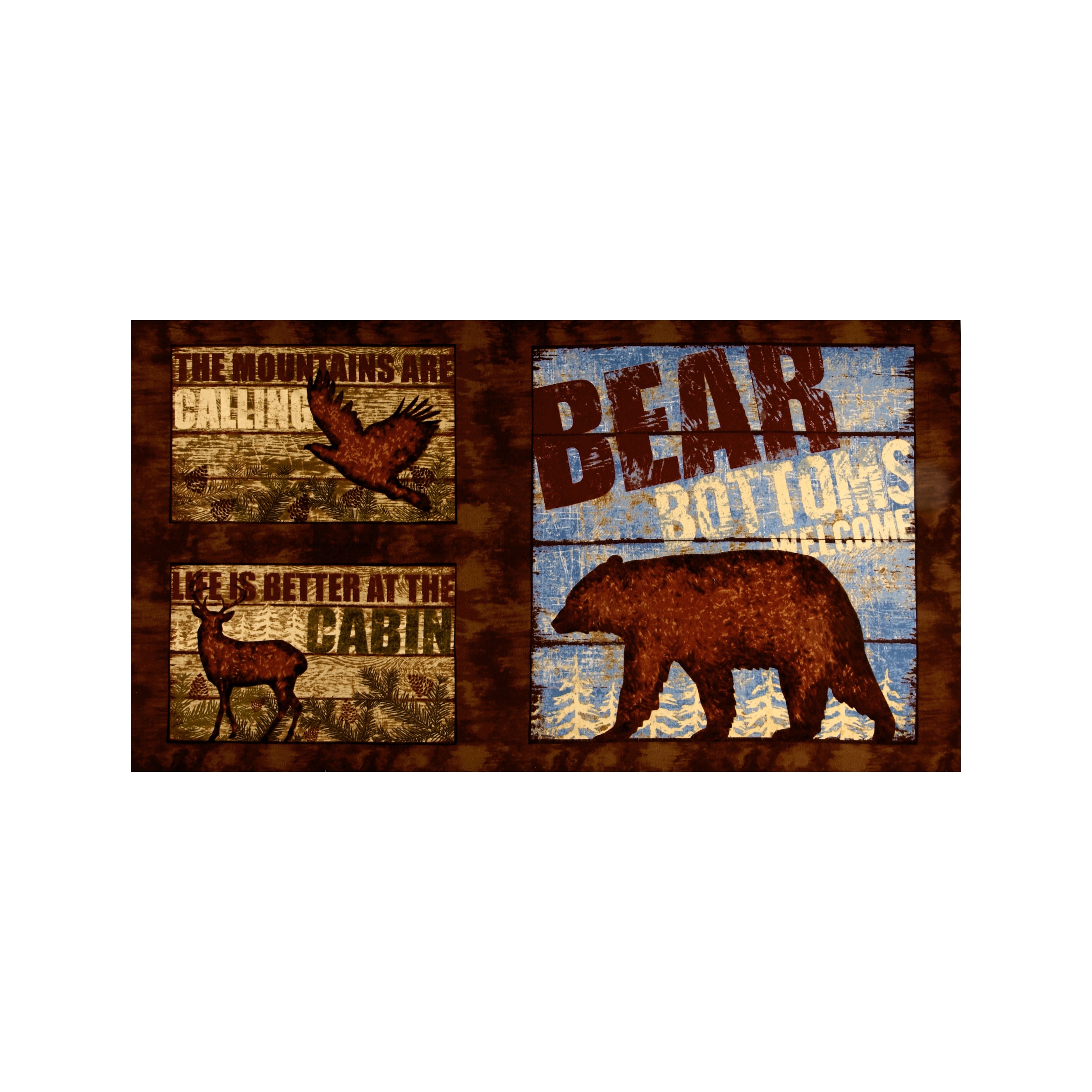 Wilderness Flannel 24'' Panel Brown Fabric by Clothworks in USA