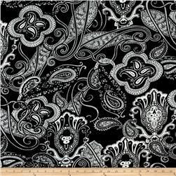 Alanna Resort ITY Knit Paisley Prints Black/White