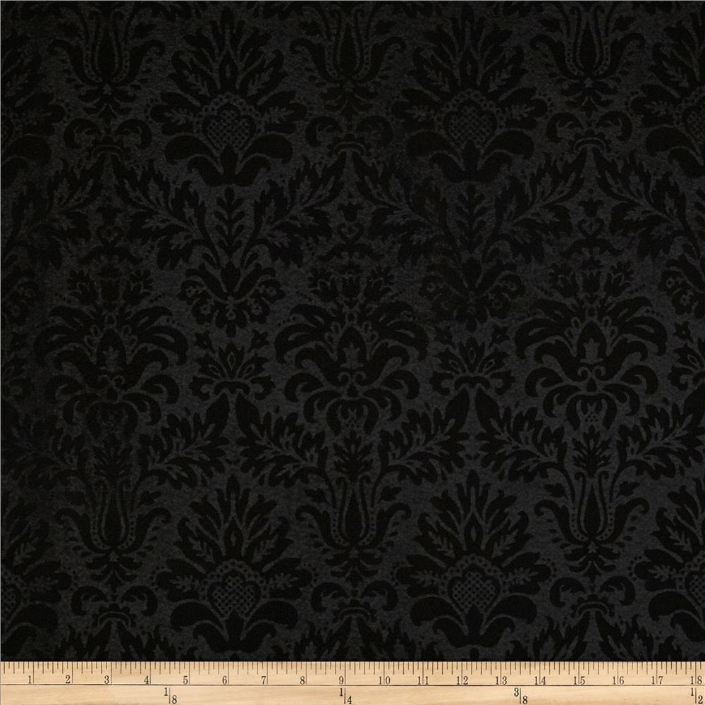 Embossed Felt 54'' Heritage Damask Black Fabric By The Yard