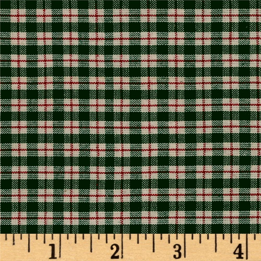 Plaid Shirting Green/Red/Cream Cotton Fabric