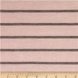 Jersey Knit Brown Stripes on Blush