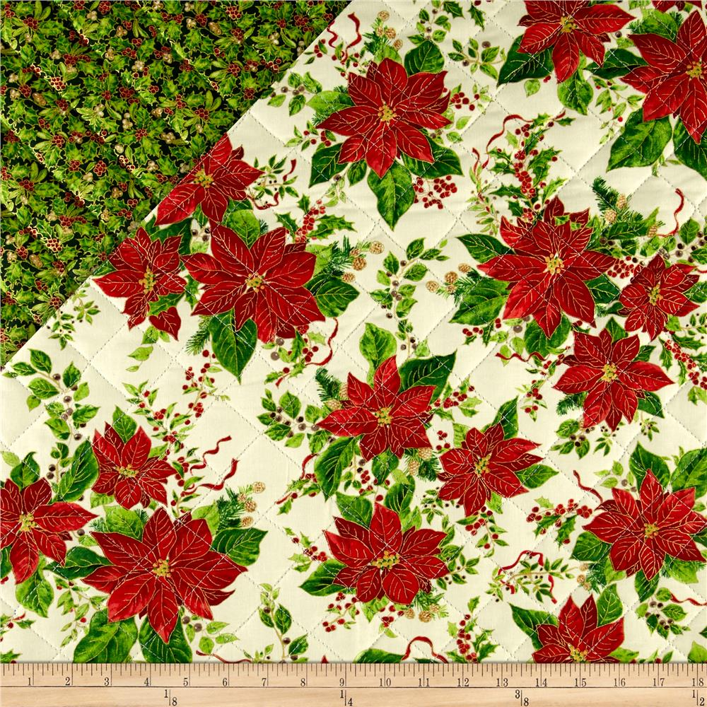 A Happy Christmas Metallic Double Sided Quilted Poinsettia