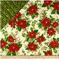A Happy Christmas Metallic Double Sided Quilted Poinsettia Ecru