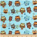 Riley Blake Hooty Hoot Returns Flannel Roll Call Sky Blue
