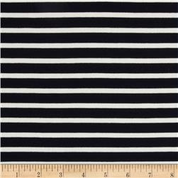 St. James Stripe Double Knit Dark Navy/Ivory Fabric