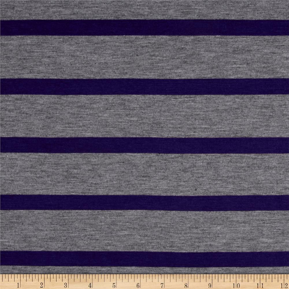 Jersey Knit Multistripe Plum/Grey Fabric
