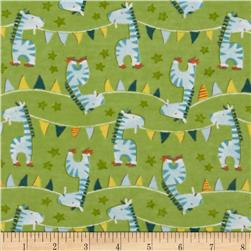 Adventure Land Flannel Zebra Parade Green