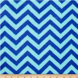 Plush Coral Fleece Chevron Turquoise/Sapphire Fabric